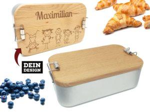 Lunchbox mit Holzdeckel und Gravur