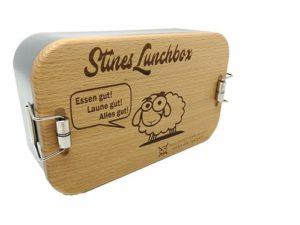 Lunchbox mit Gravur mit Holzdeckel und Gravur