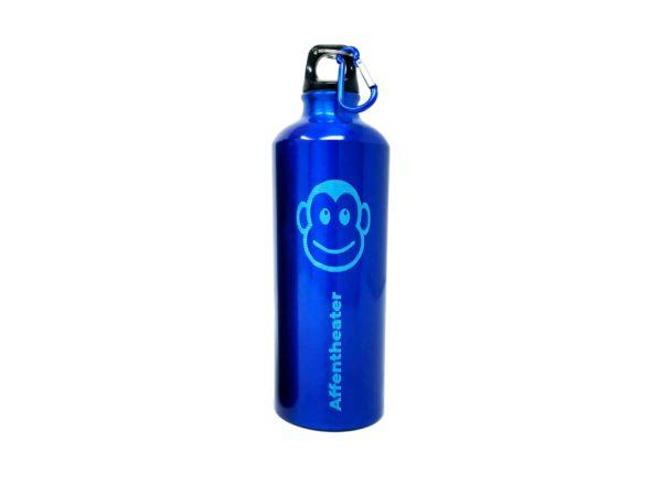 Sportflasche blau affentheater Aluminium mit Gravur