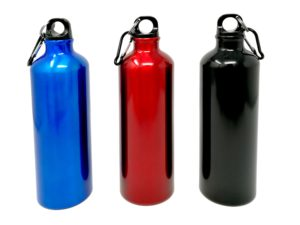 Trinkflasche rot schwarz blau mit Gravur