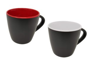 Tasse schwarz matt innen Weiß / rot