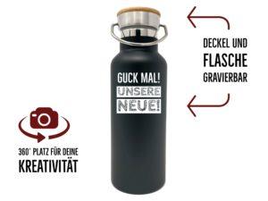 Trinkflasche mit Gravur Holzdeckel schwarz