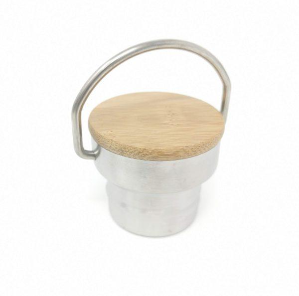 Holzdeckel zu Trinkflasche mit Gravur