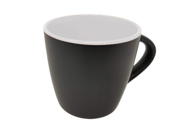 Tasse schwarz matt innen Weiß