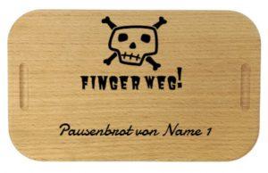 Lunchbox mit Gravur Beispiel: Finger weg!