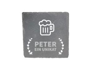 Schiefer Untersetzer mit Gravur ein Unikat Persönliches Geschenk für Bierliebhaber