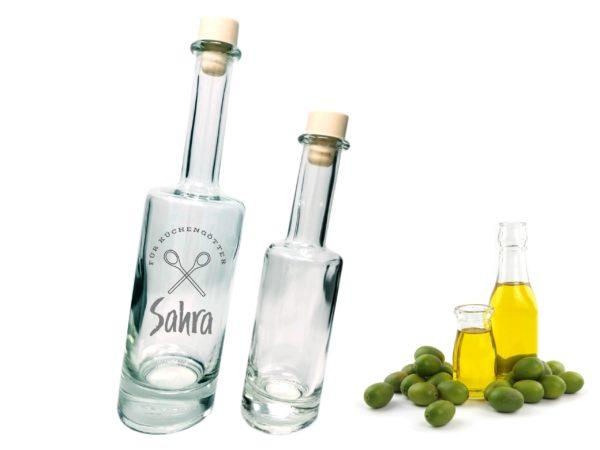 Flasche Schräg mit Gravur