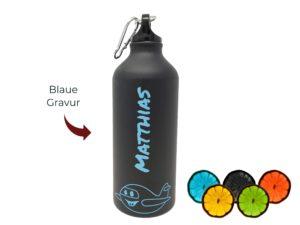 Aluflasche zweifarbig blau mit Gravur