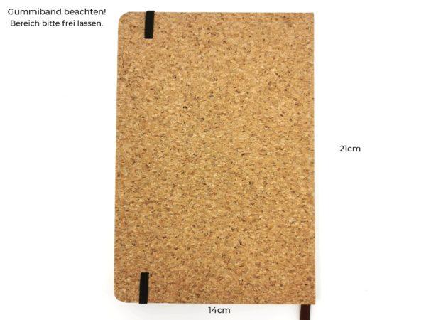 Notizbuch Kork mit Gravur Rückseite