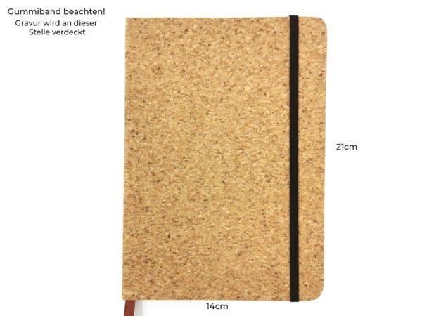 Notizbuch Kork mit Gravur Vorderseite