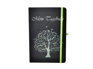 Notizbuch farbige Gravur grün