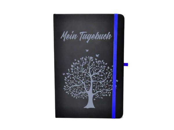 Notizbuch farbige Gravur blau