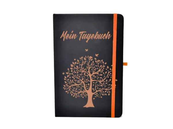 Notizbuch farbige Gravur orange