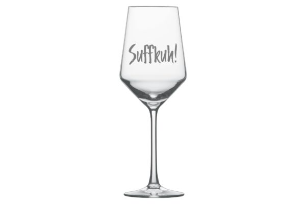 Weißweinglas mit Gravur Beispiel