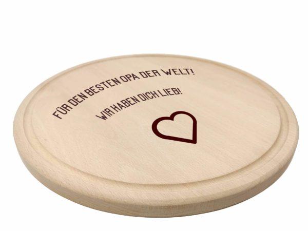 Holzbrett rund mit Gravur Beispiel 1