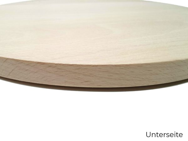 Holzbrettt rund mit Gravur unterseite
