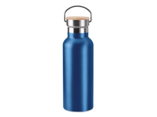 Isoflasche mit Holzdeckel blau