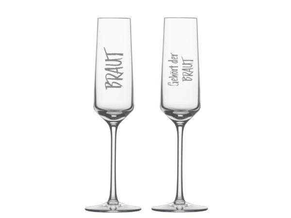 Braut und Bräutigam Sektglas
