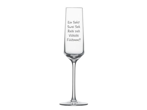Sektglas mit Spruch Ein Sekt