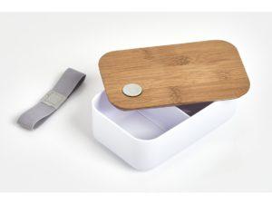 Lunchbox Bambusdeckel mit Gravur weiß