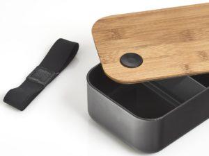 Lunchbox Bambusdeckel mit Gravur schwarz