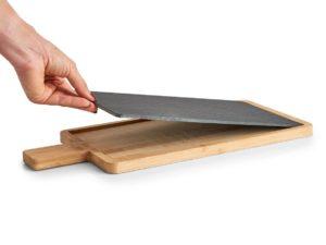 Servierbrett mit herausnehmbarer Schieferplatte