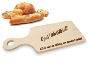 Frühstücksbrett mit Griff und Gravur Laserliebe.de