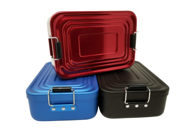 Lunchboxen mit Gravur Aluminium rot blau schwarz