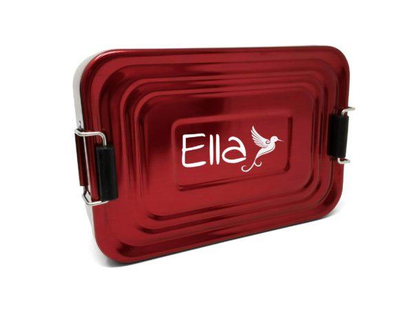 Lunchbox mit Namen Gravur Ella rot
