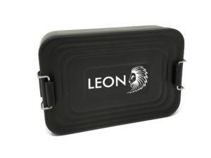 Lunchbox mit Namen Gravur Leon schwarz