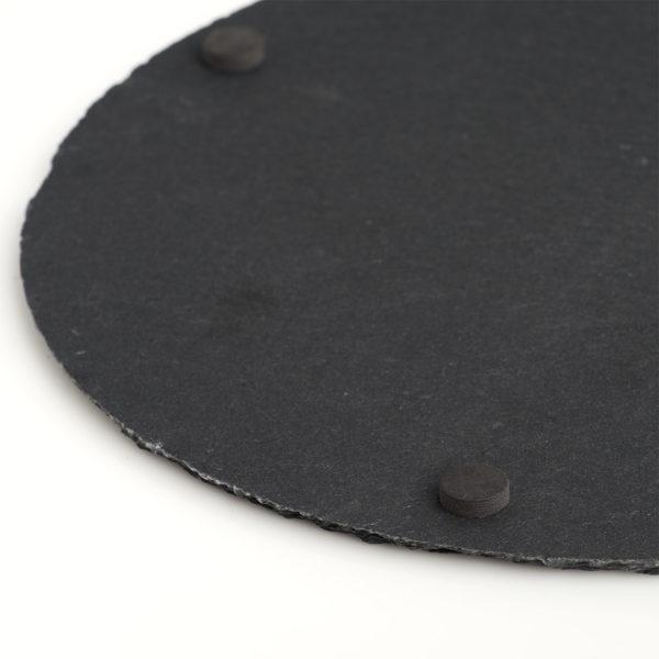 Schieferplatte rund 30cm mit Gravur Unterseite
