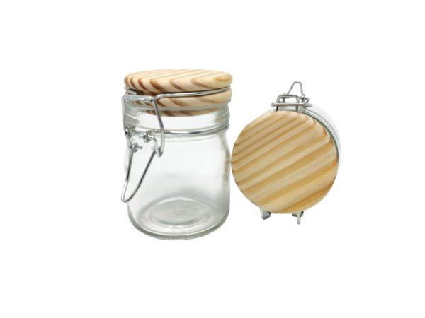 Bügelverschlussglas mit Gravur Holzdeckel