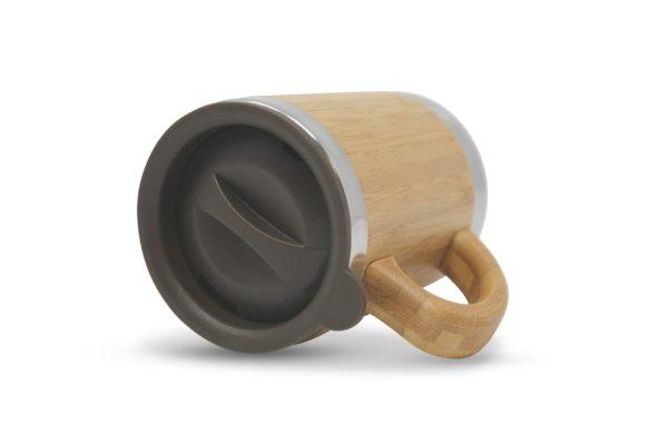 Thermo Bambus Kaffeebecher mit Henkel und Gravur