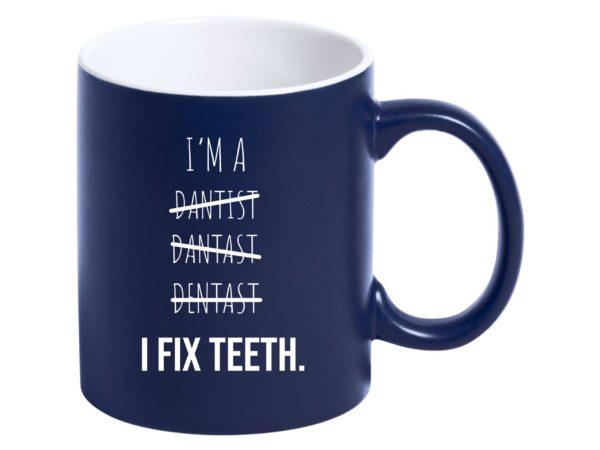 Tasse für Zahnarzt Blau mit Gravur