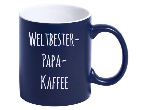 """Weltbester Papa personalisierte Tasse """"blau"""" mit Gravur"""
