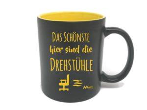 Büro Spruch Tasse mit Gravur gelb