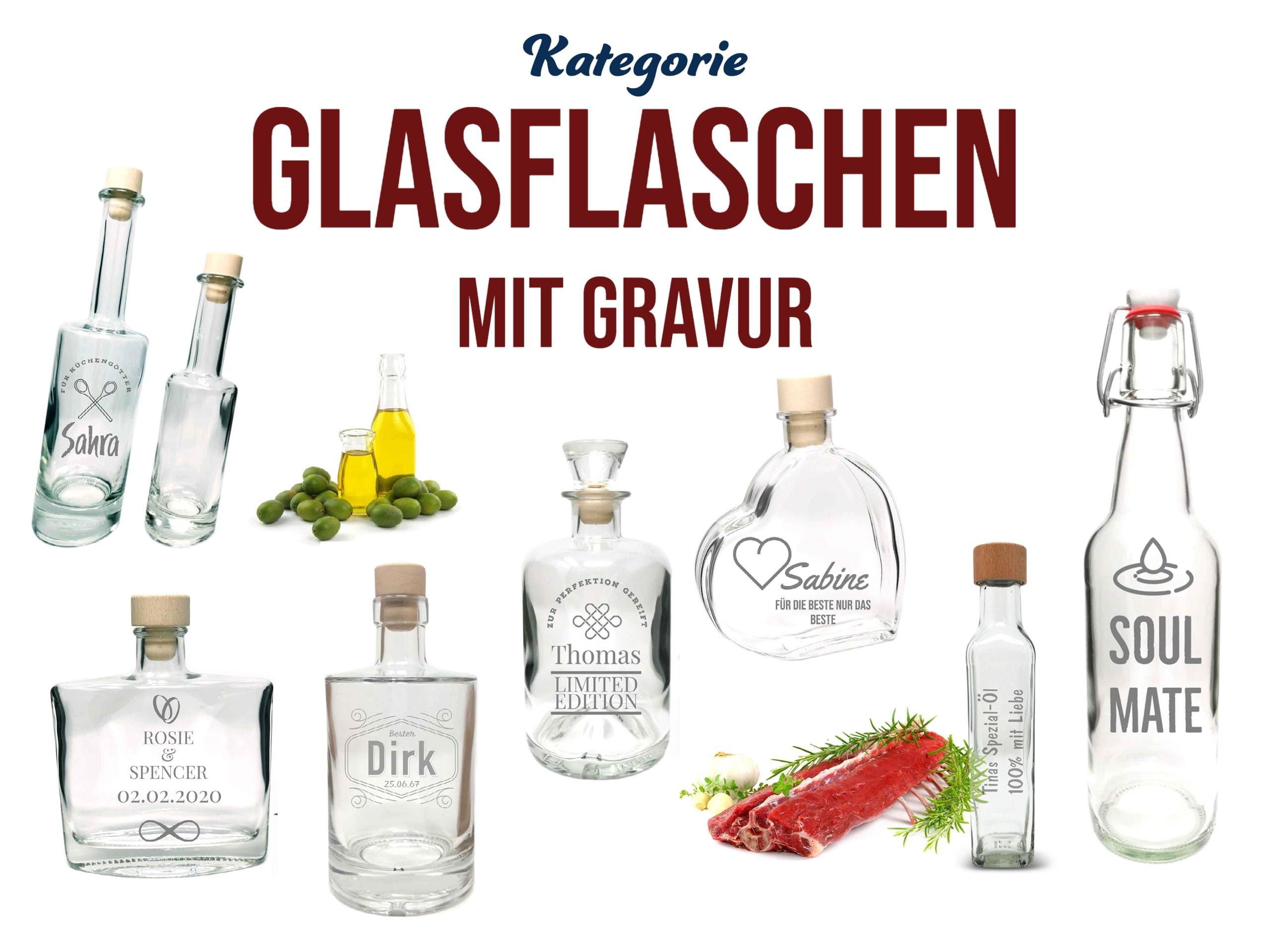 Persönliches Geschenk: Glasflaschen mit persönlicher Gravur