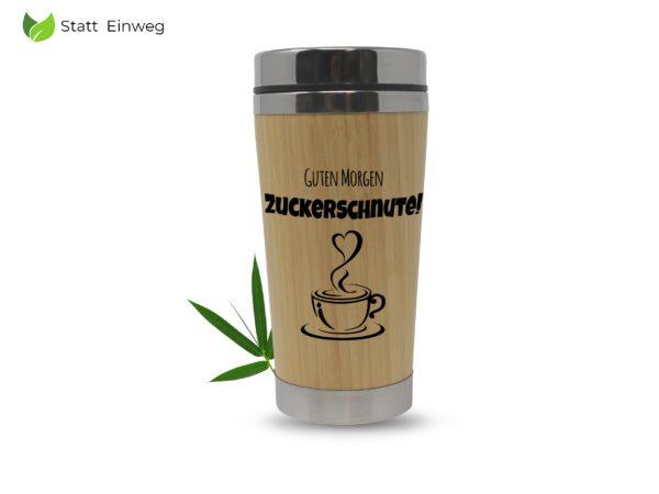 Kaffee to go Becher mit Gravur Mehrwegbecher Bambus