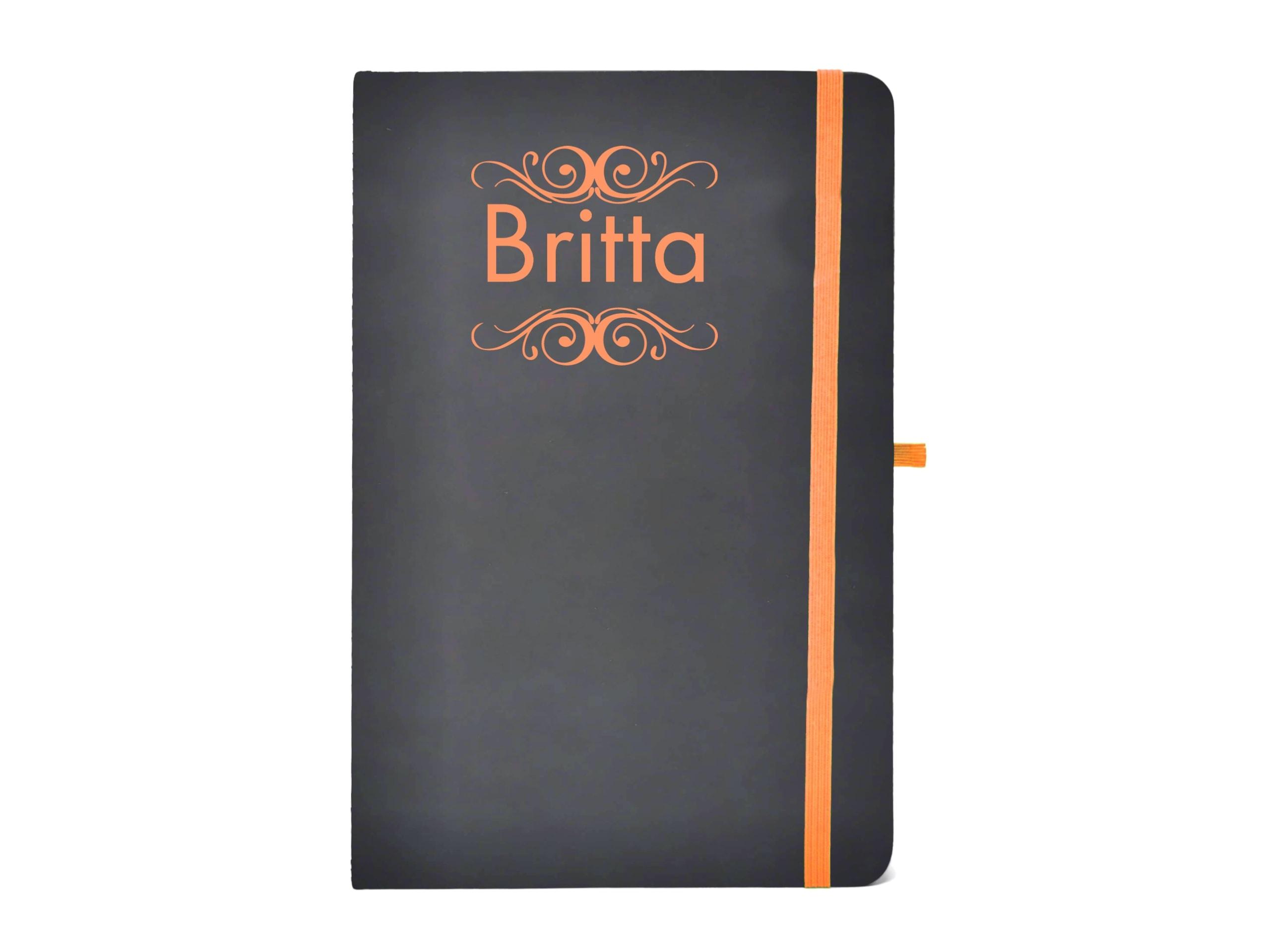 Personalisiertes Notizbuch mit Namen Gravurfarbe Orange