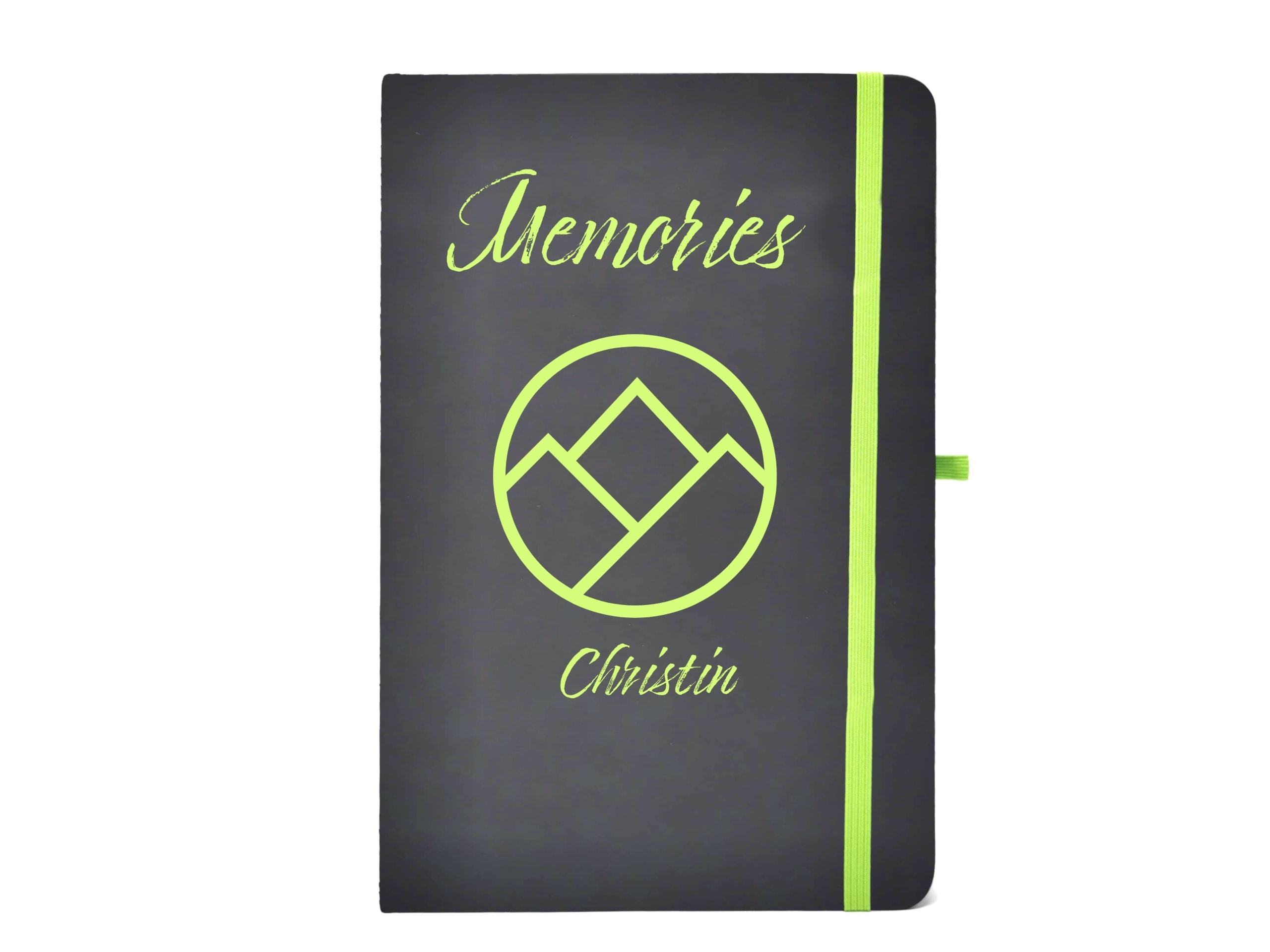 Notizbuch memories mit Gravur grün