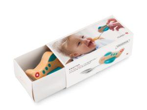 Verpackung Kinderlöffel mit Flugzeug blau
