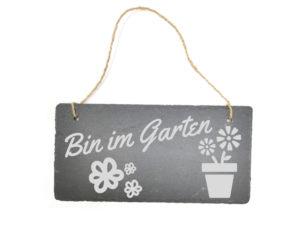 Gartenschild mit Gravur zum Aufhängen