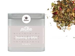 Dose Raspberry in white lose Ein sanfter Weißer Tee mit fruchtigem Himbeergeschmack