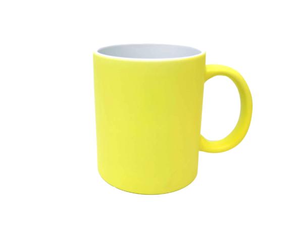 Tasse mit Gravur neon Gelb