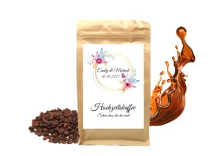 Personalisierter Kaffee als Gastgeschenk zur Hochzeit
